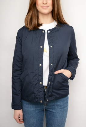 Collarless Padded Jacket, Marine