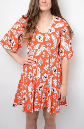 Peggy Dress ss, Tropical Print