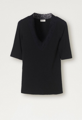 Lace-trimmed T-shirt, Black