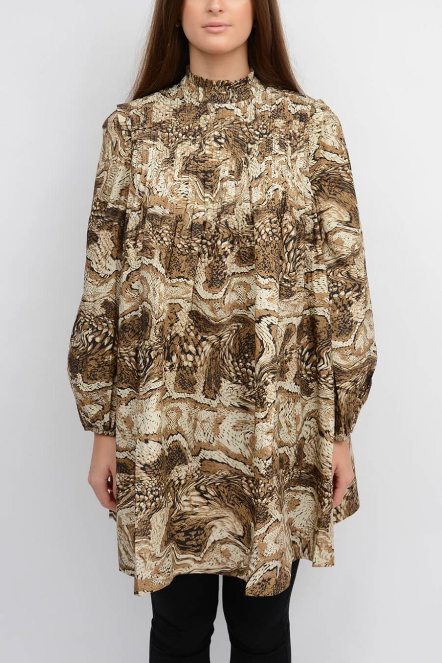GANNI | Printed Cotton Poplin Mini Dress, Tiger's Eye | Dresses