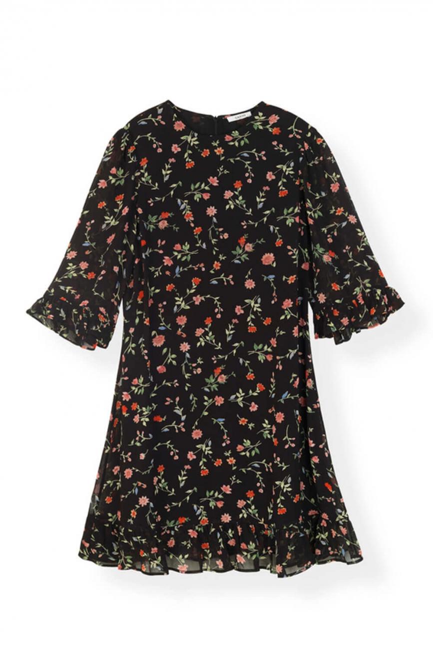 f50c86c9 GANNI   Elm Georgette Mini Dress, Black   Dresses - For her   E