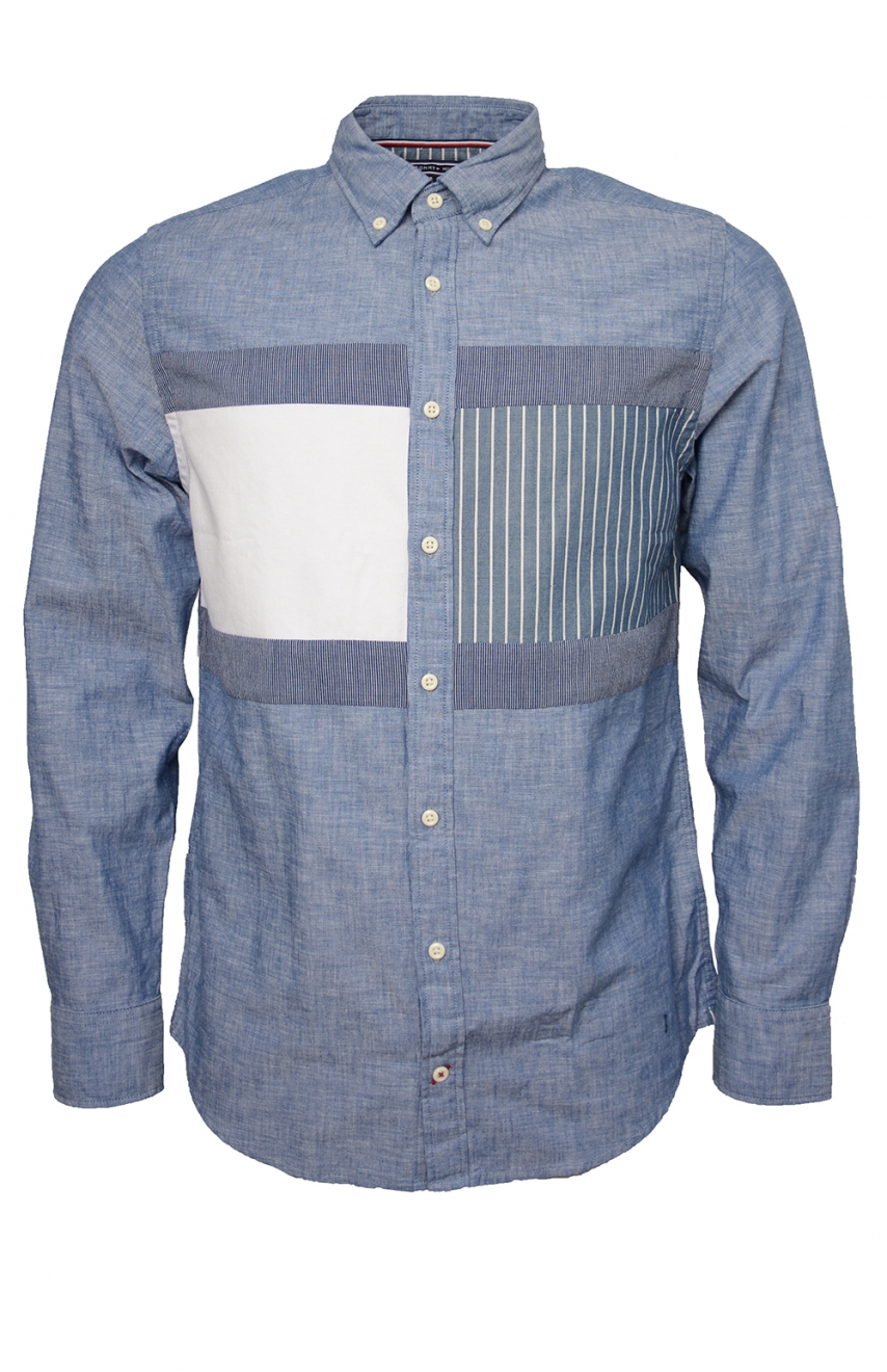 1cf99ec1 Flag Patchwork Shirt, Indigo in the group For him / SHOP THE LOOK, GRAPHIC