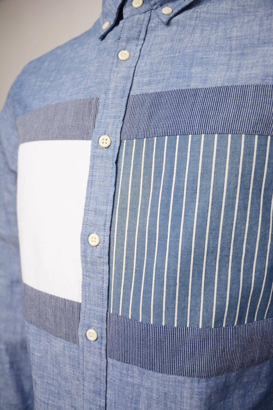 afeed380 TOMMY HILFIGER HERR | Flag Patchwork Shirt, Indigo | Shirts - F